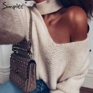 NEW! Cold Shoulder Knitted Sweater